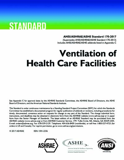 Ansi Ashrae Ashe Standard 170 2017 Ventilation Of Health