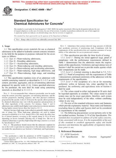 ASTM C494/C494M-99ae1