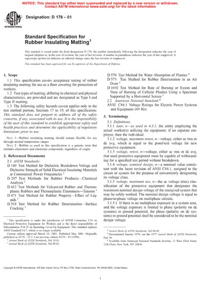 Specification For Rubber Insulating Matting