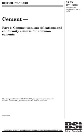 Cement - Part 1: Composition, specifications and conformity criteria for common cements