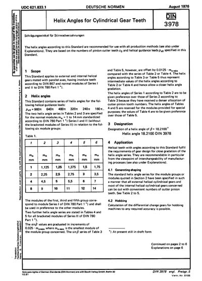 DIN 3978:1976 - Helix Angles for Cylindrical Gear Teeth