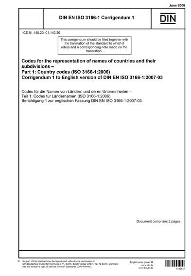 DIN EN ISO 3166-1 Berichtigung 1:2008 - Codes for the ...