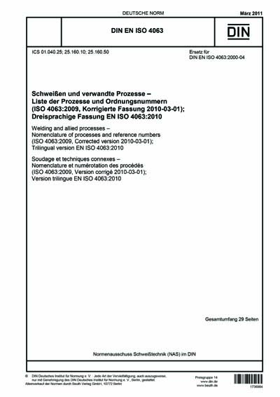 DIN EN ISO 4063:2011 - Welding and allied processes welding processes iso 4063