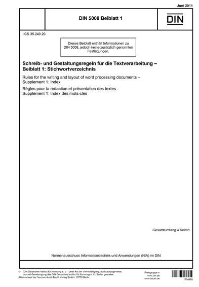 Din 5008 Beiblatt 12011 De Schreib Und Gestaltungsregeln Für Die