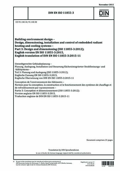 Din En Iso 11855 3 2015 Building Environment Design Design Dimensioning Installation And Control Of Embedded Radiant Heating And Cooling Systems Part 3 Design And Dimensioning Iso 11855 3 2012 German Version En Iso 11855 3 2015