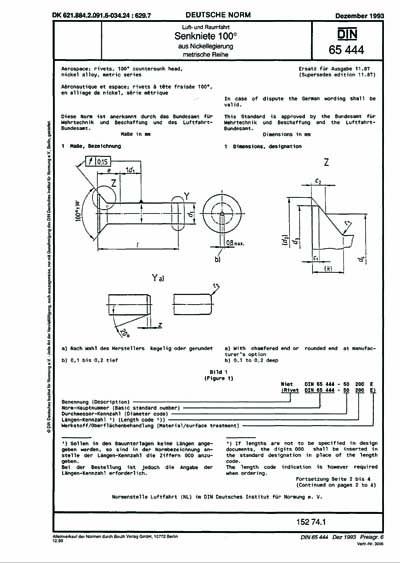DIN 65444:1993 - Aerospace
