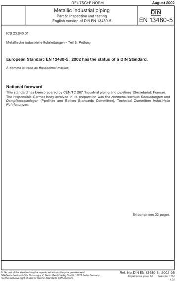 DIN EN 13480-5:2002