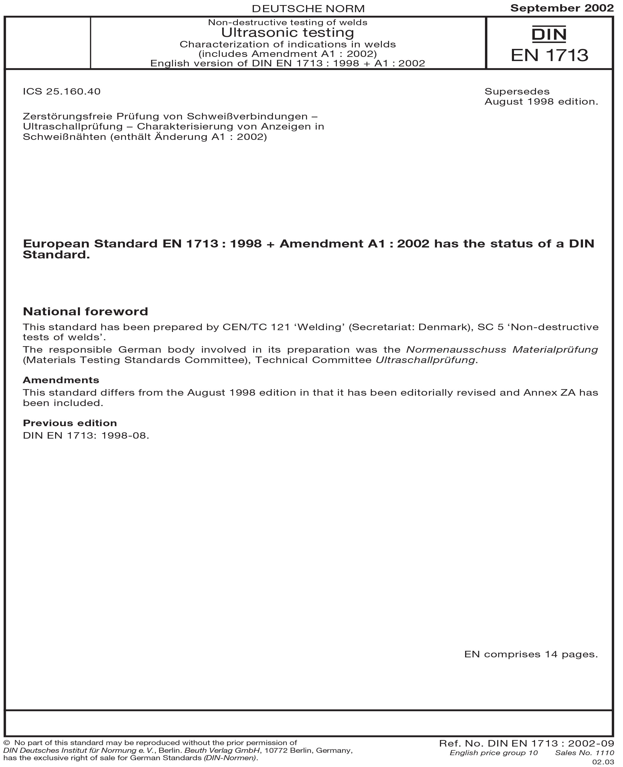 DIN EN 1713:2002