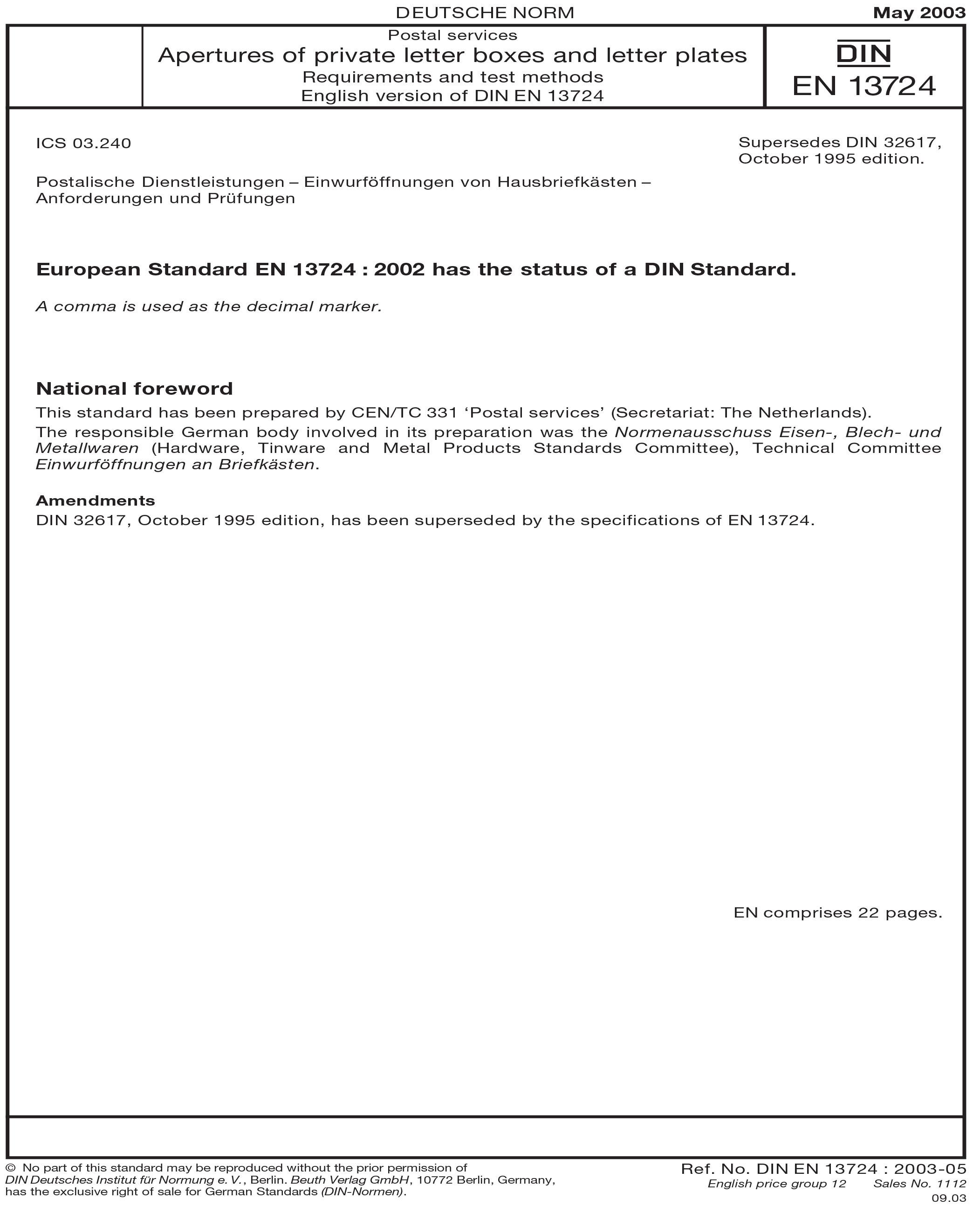 Din En 137242003 Postal Services Apertures Of Private Letter