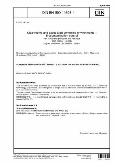DIN EN ISO 14698-1:2004