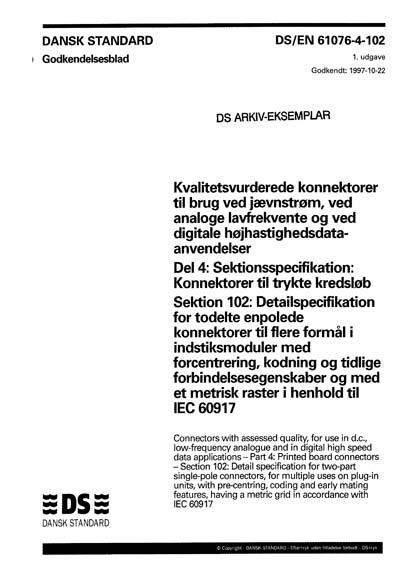DS/EN 61076-4-102:1997
