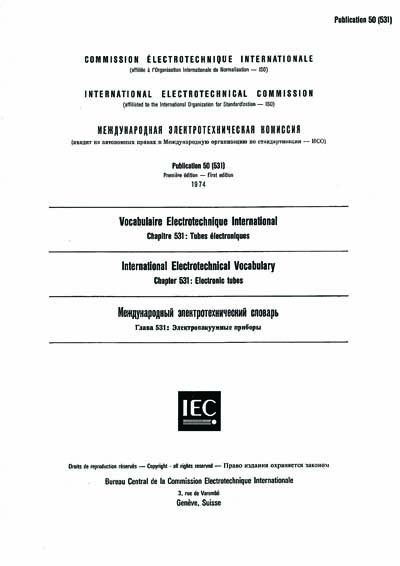 IEC 60050-531 Ed  1 0 t:1974 - International Electrotechnical