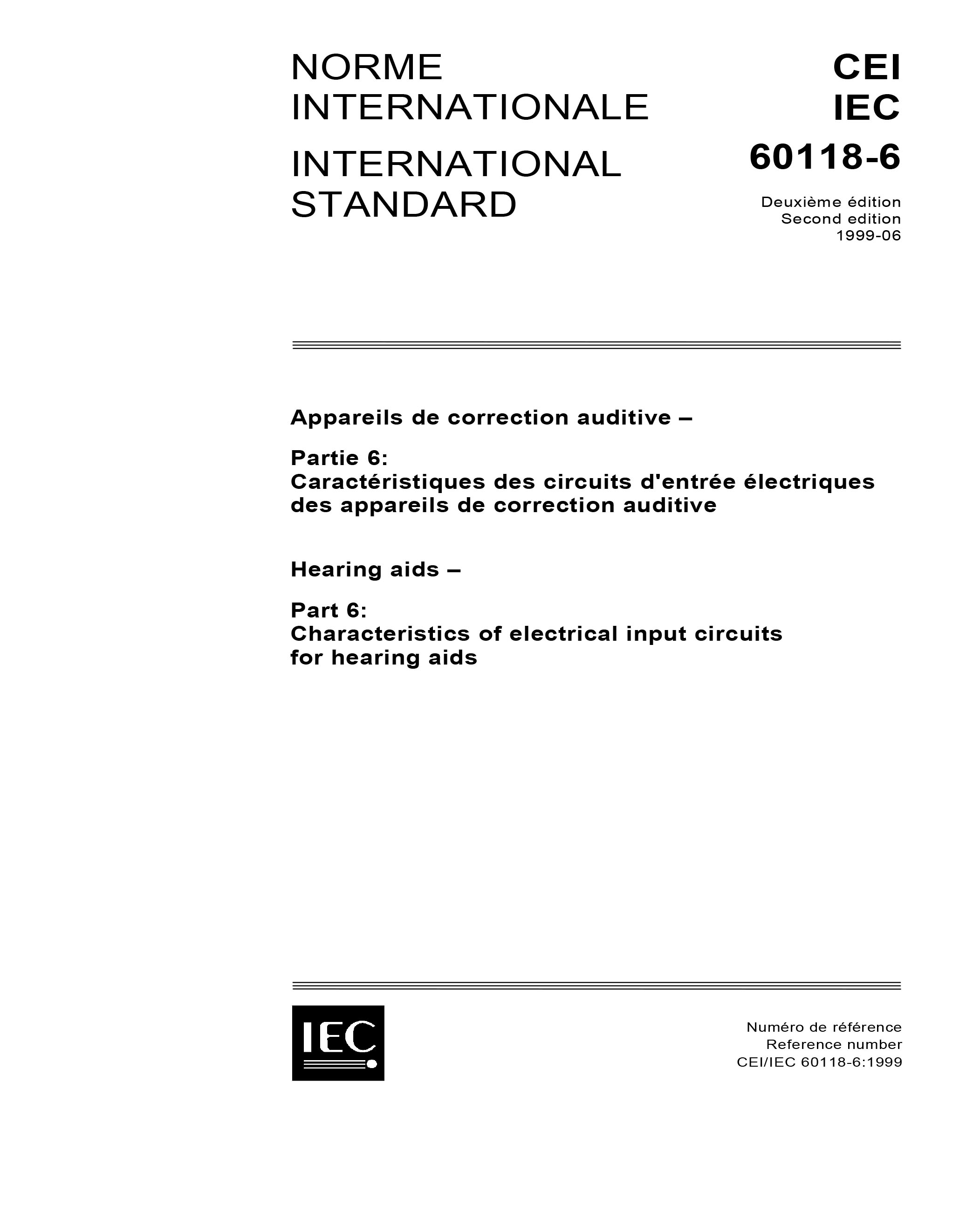 Iec 60118 6 Ed 20 B1999 Hearing Aids Part Characteristics Aid Circuitry Standards Pdf Cover Page