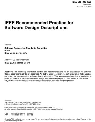 1016 1998 Ieee Recommended Practice For Software Design Descriptions