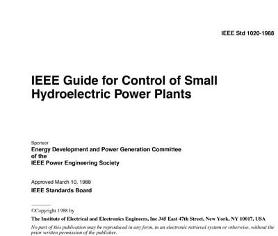 1020-1988 - IEEE Guide for Control of Small Hydroelectric