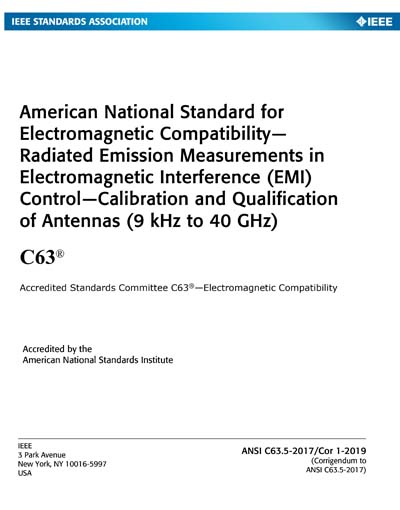 ANSI C63 5-2017/Cor 1-2019 - American National Standard for