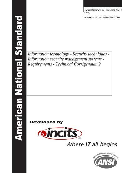 INCITS/ISO/IEC 27001:2013/COR 2:2015 (2018)