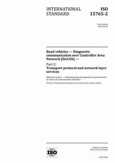 Iso 15765-2:2016 road vehicles diagnostic communication over.