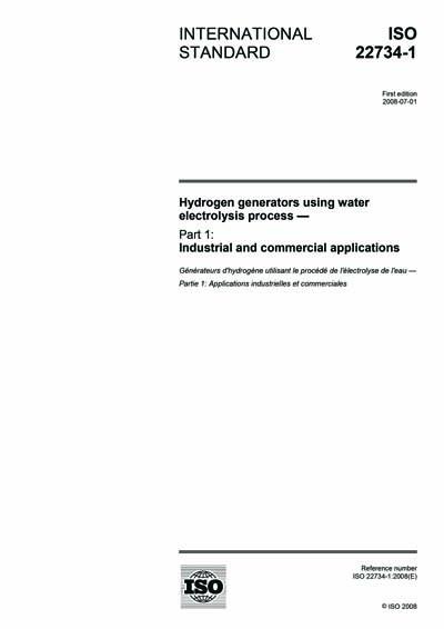 ISO 22734-1:2008 - Hydrogen generators using water