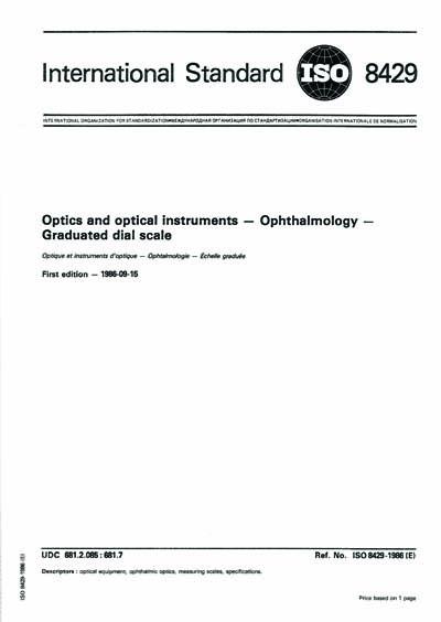 ISO 8429:1986 - Optics and optical instruments -- Ophthalmology