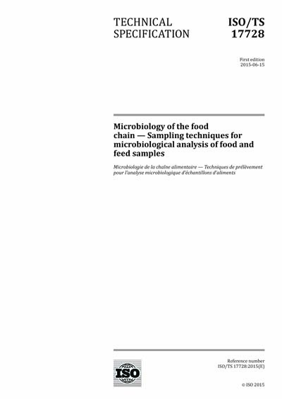 ISO/TS 17728:2015 - Microbiology of the food chain - Sampling