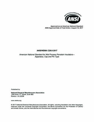 ANSI/NEMA C29 8-2017 - Wet-Process Porcelain Insulators