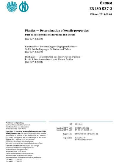 ONORM EN ISO 527-3:2019 - Plastics - Determination of tensile