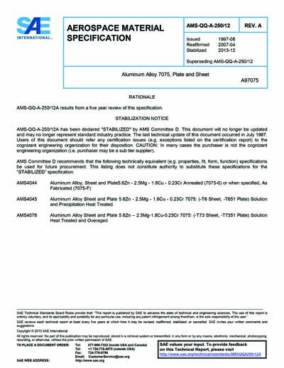 Sae Ams Qq A 250 12a 2013 Sae Ams Qq A 250 12a 2013 Aluminum Alloy 7075 Plate And Sheet Stabilized Dec 2013