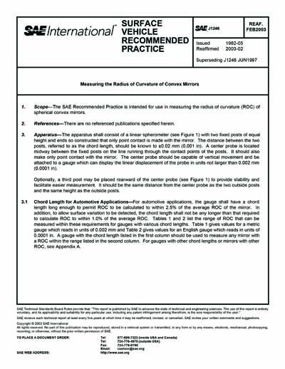SAE J 1246-2003 (SAE J1246-2003) - Measuring the Radius of Curvature