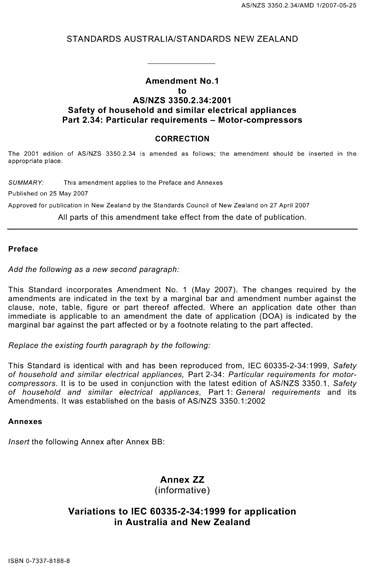AS/NZS 3350 2 34:2001/Amdt 1:2007 - Safety of household and